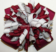 Korkers Hair Bow Wine Gray White Solid Curly Ribbon Girls School Cheer Accessory