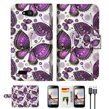 Purple Butterfly Wallet TPU Case Cover For Telstra 4GX Buzz -- A017