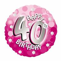 "Pink Sparkle Age 40 40th 18"" Birthday Helium Foil Balloon"