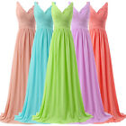 STRAPLESS Long Chiffon Bridesmaid Evening Prom Formal Wedding Gown Party Dresses