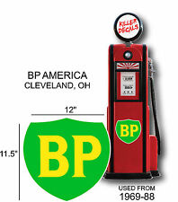 "12"" 1969-88 BP BRITISH GASOLINE OIL VINYL DECAL OIL CAN / GAS PUMP / LUBSTER"