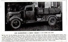 1942  --  LES GAZOGENES A BOIS BACO  A LA FOIRE DE LYON    3L735    CAMION