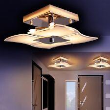 Plafoniera quadrata vetro lampada design salone cucina moderna cromo new 133948