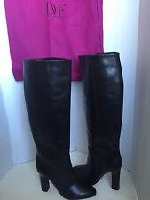 Diane Von Furstenberg Gladyss Black Leather Knee High Boot 8.5