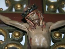 ANT.BEAUTIFUL WOOD CARVED GOTHIC CRUCIFIX & POLYCHROME CORPUS CHRISTY