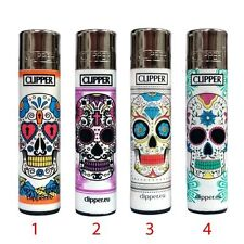 ★1 ACCENDINO CLIPPER A GAS LARGE SKULL TATTOO RICARICABILE REGULAR VARI COLORI★