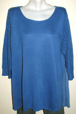Fever 3/4 Sleeve Blue Pullover Sweater w Pleated Back Plus Size 3X New w Tags
