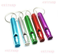 2x Metal Aluminum Emergency Survival Whistle Keychain For Camping Hiking Outdoor