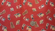 """Vintage Cotton Fabric CHRISTMAS ITEMS ON RED W/ WHITE SPECKS 1 Yd/44"""" Wide"""