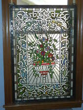 "Tiffany Style Leaded Stained Glass Window Panel Hanging Floral Basket 36"" x 24"""