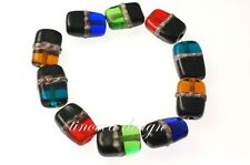10 Rectangular Handmade Lampwork Glass Beads Multicolor Mix