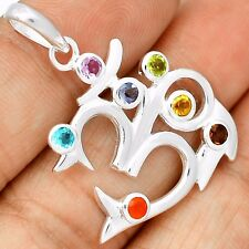 Om Chakra Amethyst 925 Sterling Silver Pendant Jewelry SP208825