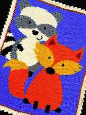 Crochet Patterns - RACCOON and FOX Baby Afghan Pattern (WOODLAND/FOREST)  *EASY*