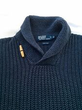 Polo Ralph Lauren Mens Navy Blue Linen Blend Shawl Neck Knit Sweater XL