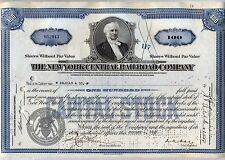 New York Central Railroad Stock Certificate Blue