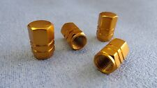 SMART GOLD METAL DUST VALVE CAPS TYRE WHEEL ALUMINIUM SOLID HEXAGON COVER 4PCS
