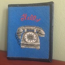 Phone Book Cover Vintage 50s Rotary Telephone Petit Point Needlepoint Notebook