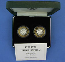 1997/8 Silver Proof 2 x £2 coin set in Case with COA (C320/10)