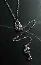 Small Silver Heart Lock & Key Y-Style Pendant Necklace--Stainless Steel Chain