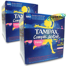 2x Tampax Compak Fresh Regular 20 Slightly Scented Tampons Applicators