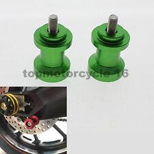 Green Kawasaki Mini Swingarm Spools Sliders 10mm Bolts Ninja ZX 6R 9R 10R 14R RR
