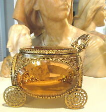 VTG HOLLYWOOD REGENCY GOLD PLATED CARRIAGE JEWELRY BOX W/ BEVELED PEACH GLASS