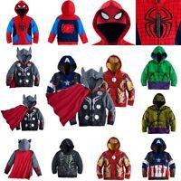 Kids baby Boys Superhero Hoodie Hooded Jacket Jumper Sweatshirt Sweatshirt Coat