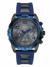 GUESS U0599G2 Blue And Gunmetal-Tone Silicone Strap Men's Sport Watch NEW**