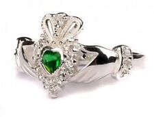 Sterling Silver Irish made May birthstone claddagh ring all sizes available
