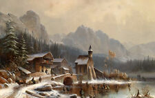 Oil painting snow winter landscape in old town by river & church hills on canvas