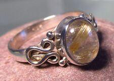 Sterling silver everyday golden rutilated quartz ring UK O¾/US 7.75. UK Seller.