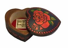 Large Rose Heart Box Polish Handmade Jewelry Box Linden Wood Heart Keepsake
