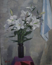 Antique Original Russian painting USSR oil on canvas lilies 2004 lilies