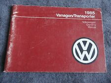 1985 VW Volkswagen Vanagon / Transporter  Owners Manual