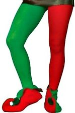 MEN's RED AND GREEN TIGHTS ELF JESTER CHRISTMAS PANTO FANCY DRESS