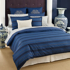 5PC SET TOMMY HILFIGER WESTERLY STRIPE KING DUVET COMFORTER COVER EURO SHAM BLUE