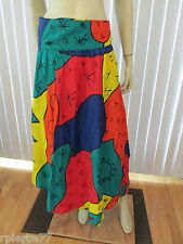 MARITZA Colorful Long Wrap Skirt One Size 100% Rayon Asymmetrical Hem NWTs
