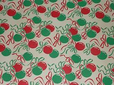 VTG CHRISTMAS WRAPPING PAPER GIFT WRAP MCM ORNAMENTS RIBBON RED & GREEN 1960