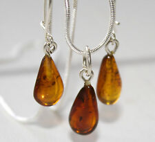 GENUINE BALTIC AMBER SET EARRINGS WITH PENDANT AND CHAIN  STERLING SILVER 925