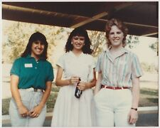Vintage 80s PHOTO Trio Teen Girls One Holding Camera?