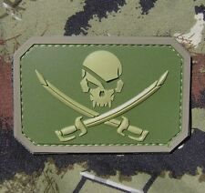 PIRATE SKULL 3D PVC FLAG ARMY MORALE TACTICAL COMBAT MULTICAM HOOK PATCH
