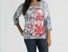 Women's Summer Spring Fall Ruffle knit Top Floral shirt blouse plus size1X $44