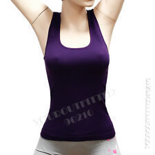 women's seamless Ribbed Racer Back stretch tank top  Yoga  cami  hot tee sports