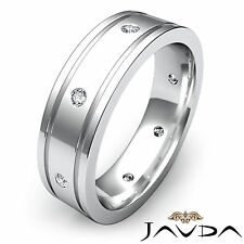 Round Diamond Mens Ring Flat Edged Eternity Wedding Platinum Grooved Band 0.20Ct