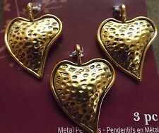GOLD HAMMERED HEART METAL PENDANTS YOU ARE LOVED PRINT (3 PCS) 25X36 MM