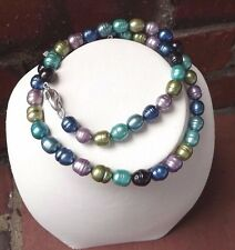 "FUN NEW HONORA-8MM  BARREL RINGED PEARL NECKLACE 18 ""  PEACOCK MULTI COLORED"