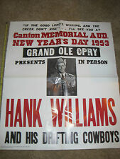 Reproduction Hank Williams concert poster from the day of his death! Folded!LOOK