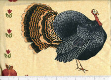 warren kimble ~ FOLK ART NATIVE WILD TURKEY ~ fabric panel thanksgiving