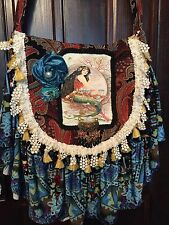 handmade gypsy boho purse mermaid art nouveau woman turquoise black lace beads