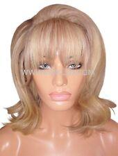 "Human Hair Wig Glueless Front Lace 12"" Long Layered Ash Brown Blonde 9 60 Moklox"